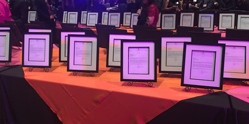 Certificates at the Business Awards Gala