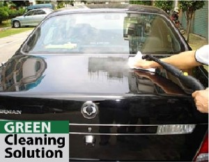 Green cleaning for reduction of car wash waste